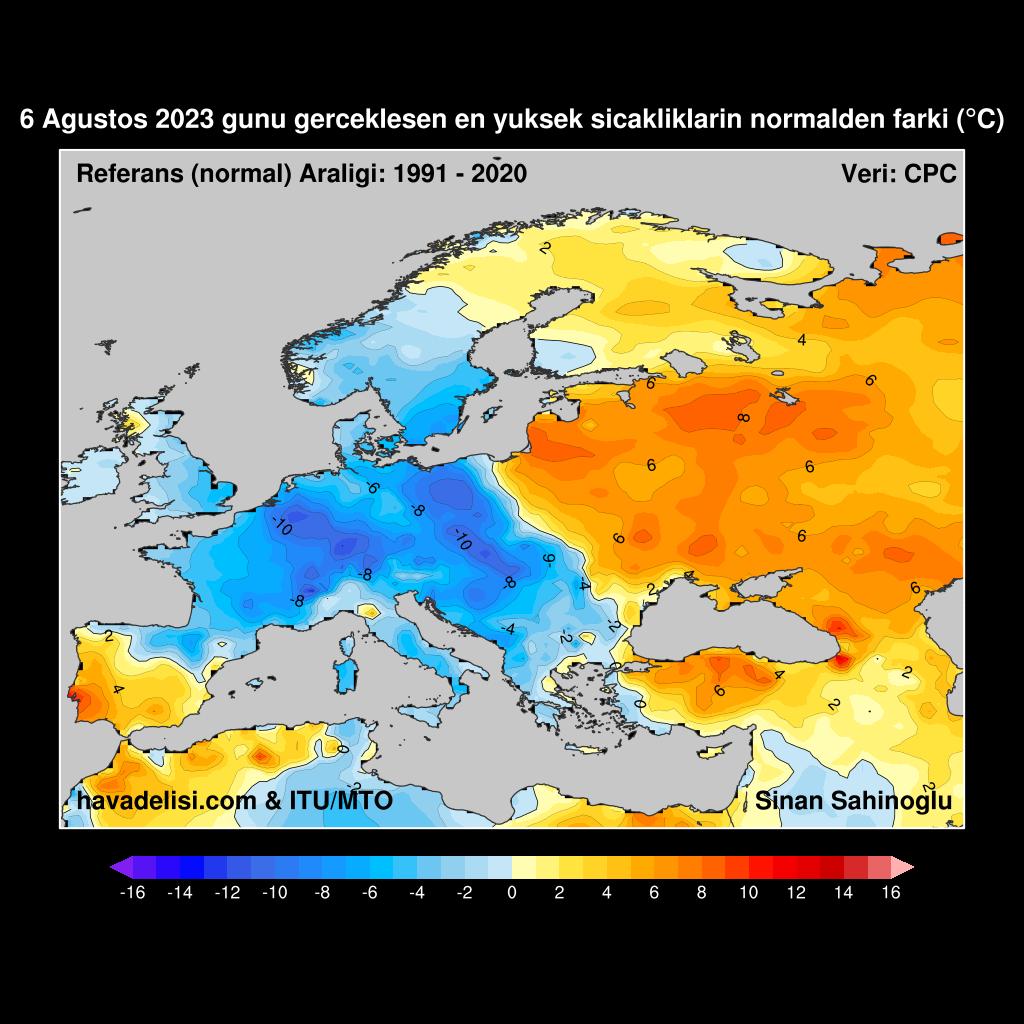 Dün ölçülen en yüksek sıcaklıkların, aynı günün 1991-2020 ortalamasından farkı (anomali)