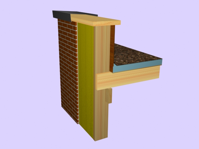 3 2 2 3 Flat Roofwith Coping Board And Parapet Walls As An